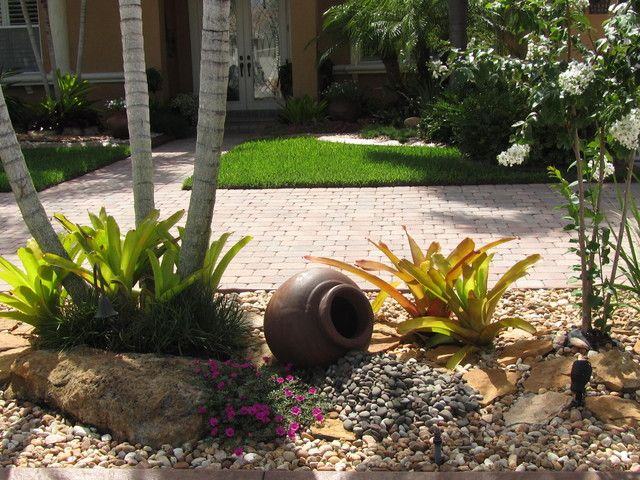 grey rock landscaping ideas for front yard on brown ground and tree at sweet decoration - Front Garden Ideas Tropical