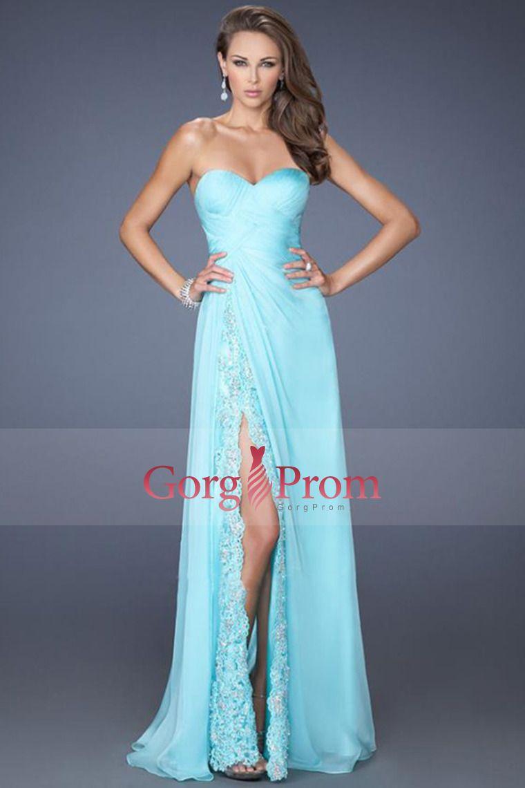 2014 cariño blusa plisada una línea completa vestido de fiesta con la raja Longitud