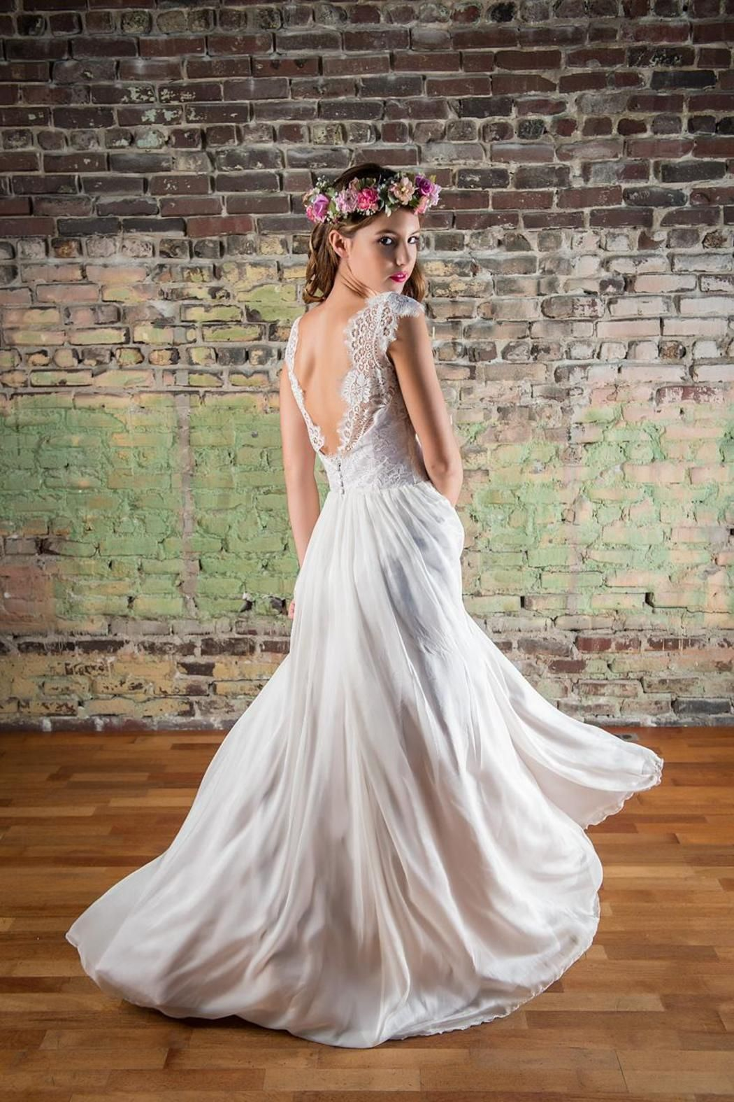 Cicada juliet gown chantilly lace lace bodice and lilacs