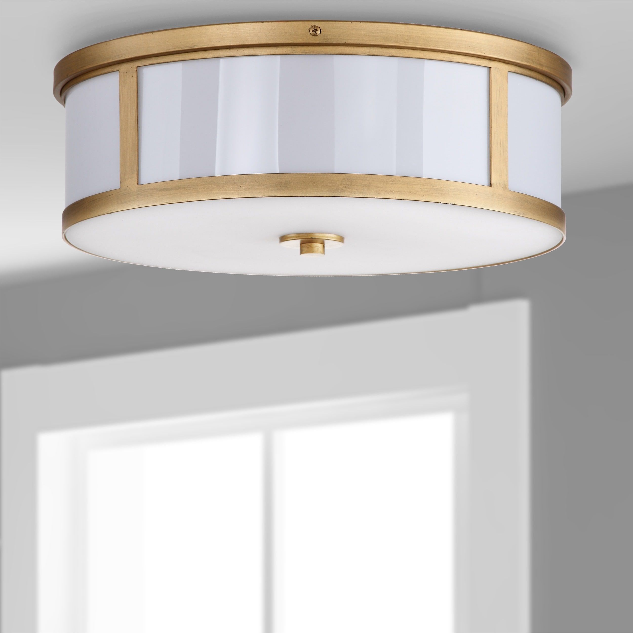Safavieh Lighting 6 Inch 2 Light Avery Gold Ceiling Drum Light