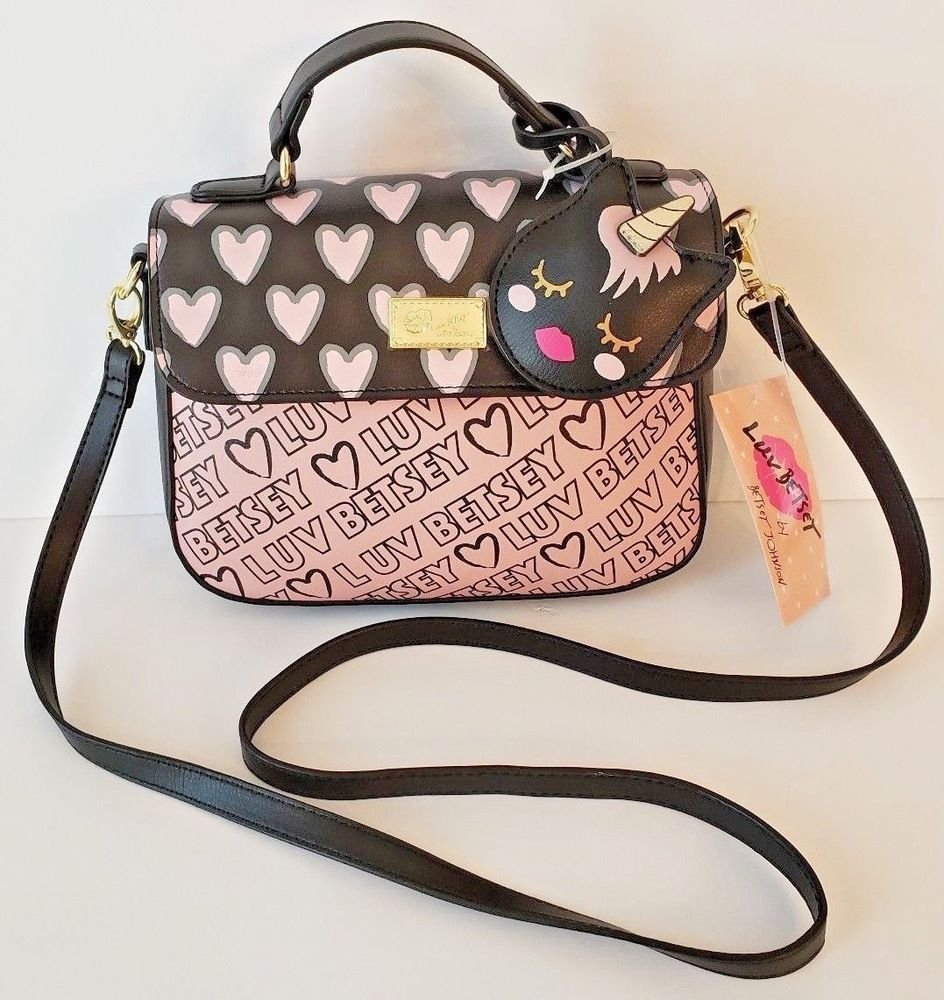 0f42fb25a032 Betsey Johnson Be Mine satchel purse pink bow on black quilted hearts logo   BetseyJohnson  Crossbody