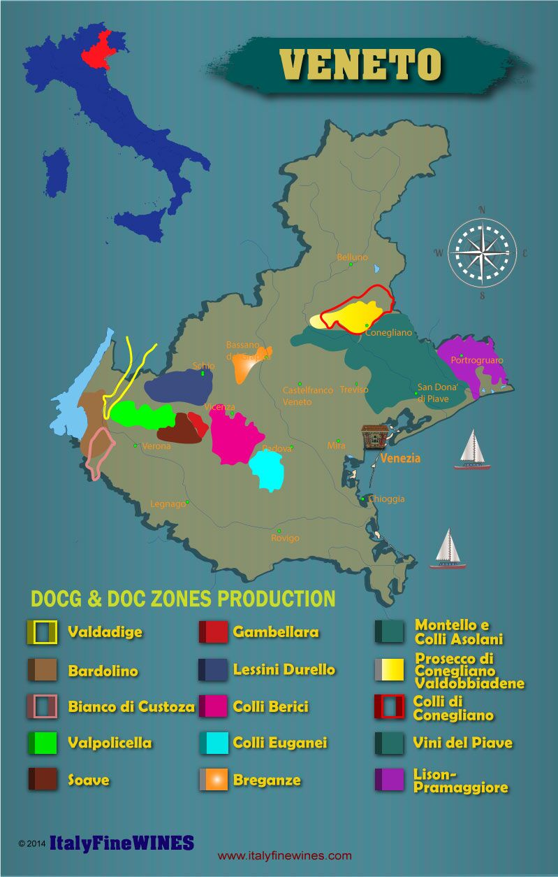 veneto wine region italy with details of doc and docg appellations