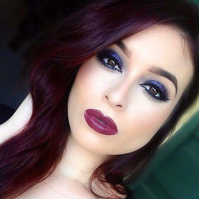 purple eyeshadow and dark red hair make up gorgeous. Black Bedroom Furniture Sets. Home Design Ideas