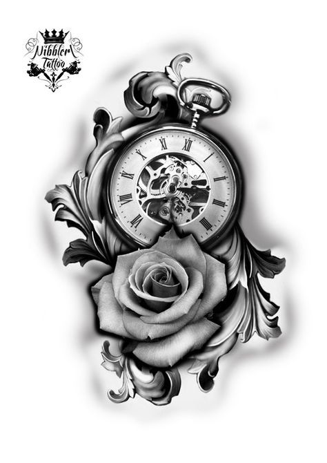 Rose Clock Tattoo Designs Drawing: Pin By Agus Tyas On EXPO TAT2