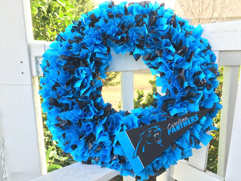 Carolina Panthers, Rag wreath, Front Door wreath, NFL, Football ...