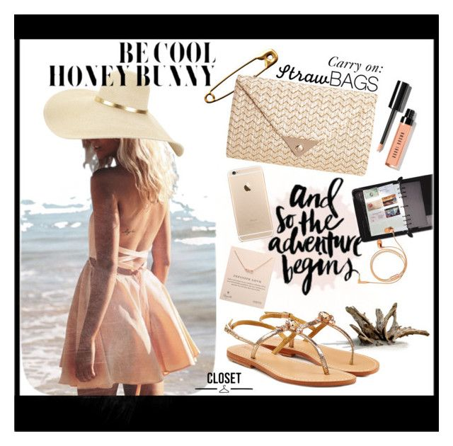 """""""Straw clutch bag"""" by urmyshelter ❤ liked on Polyvore featuring Dogeared, JNB, Mystique, PAM, Bobbi Brown Cosmetics, Happy Plugs, Urban Decay and strawbags"""