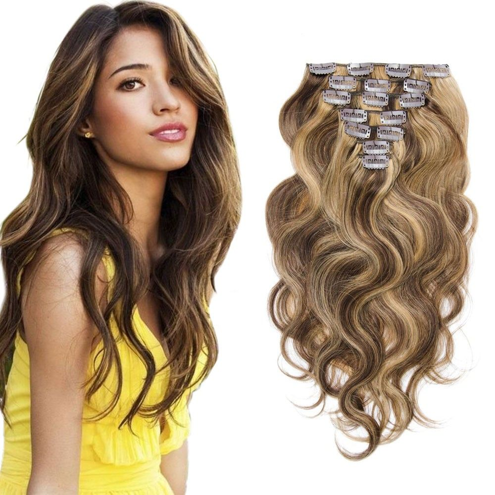 4/27 Color 7pcs Body Wavy Clip In Remy Hair Extensions