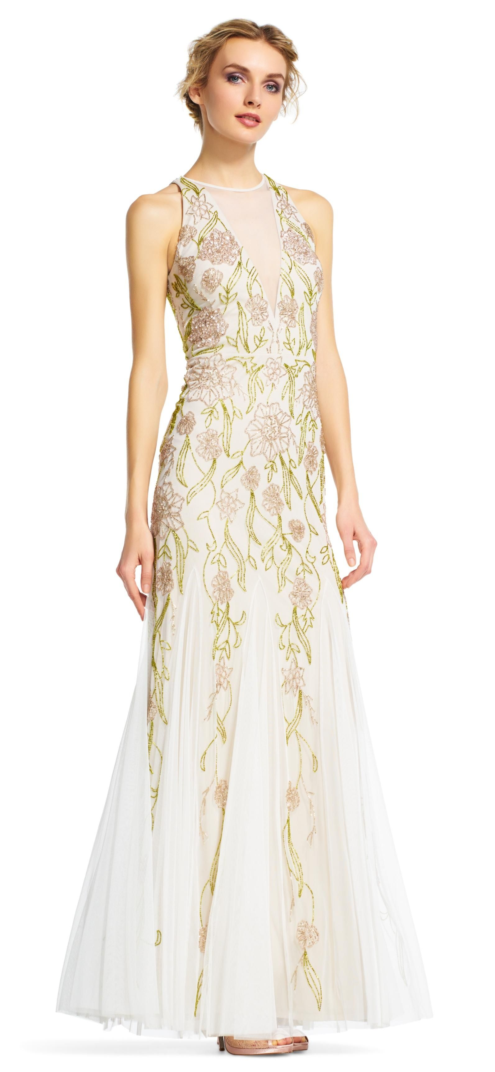 Adrianna Papell Ivorytaupe Multi Floral Beaded Halter With Chiffon Godet Skirt 12 Dress Free Shipping And Guaranteed Authenticity On: Taupe Shabby Chic Wedding Dresses At Reisefeber.org