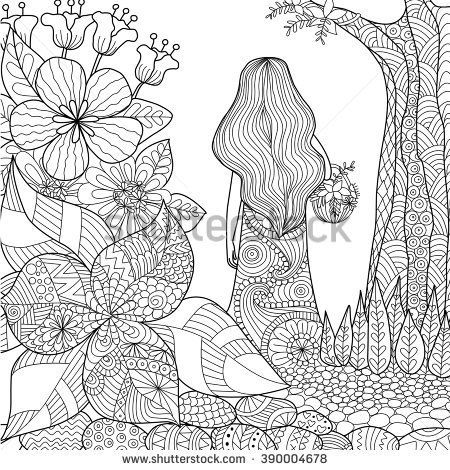 girl in the garden whimsical line art for coloring book for adult ...