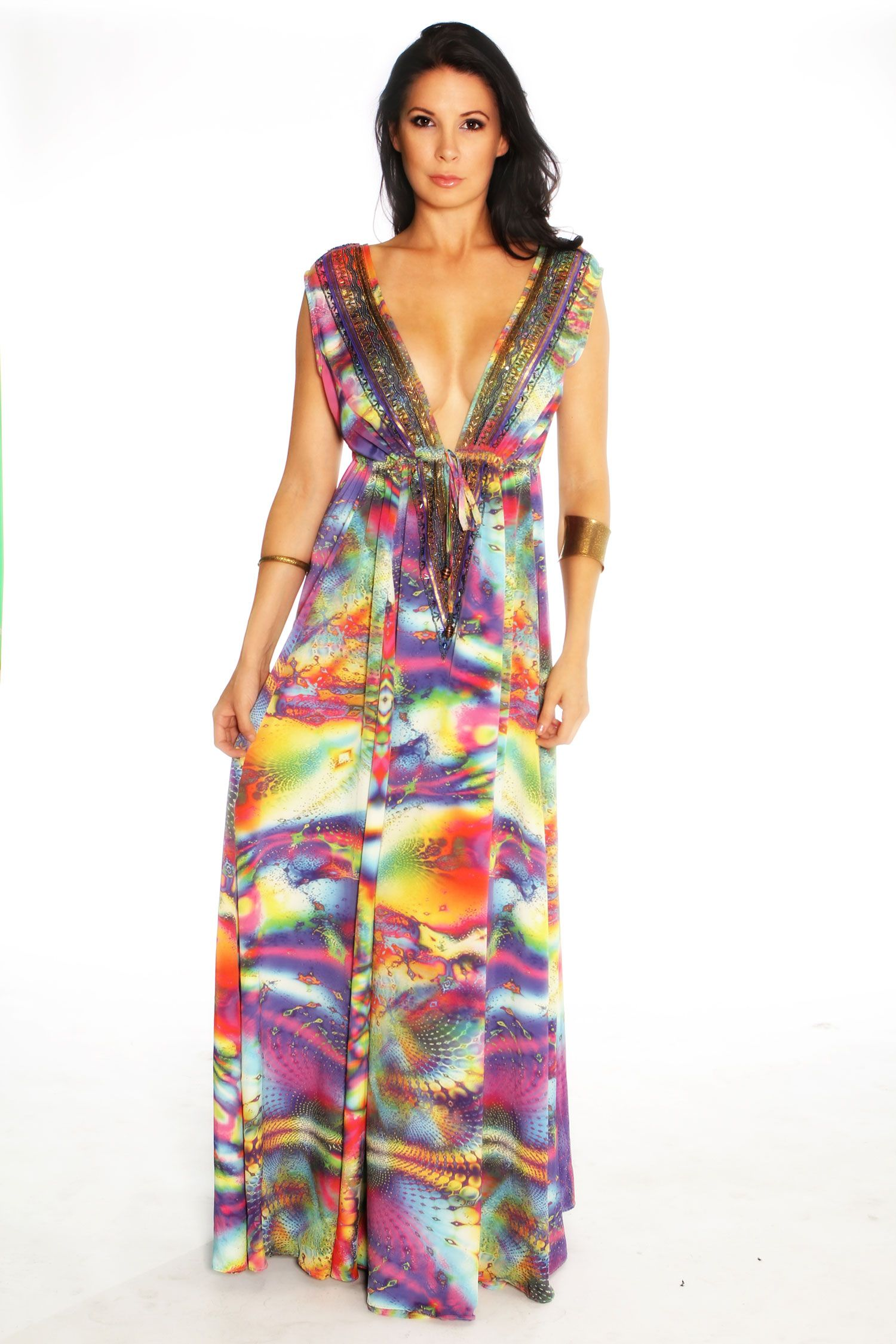 Beautiful-Long-Maxi-Dress-Double-V-Neck-Flower-Pattern-Floral ...