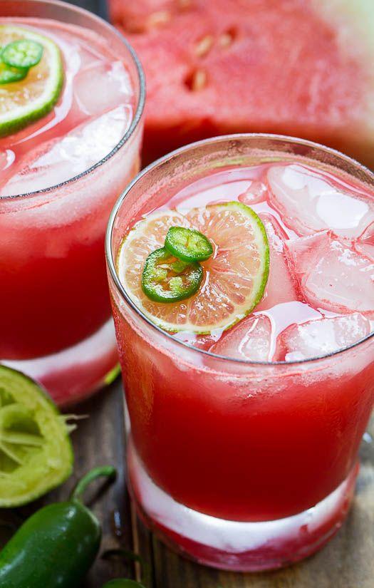 Jalapeno Watermelon Margarita Cocktail Recipe | TasteSpotting