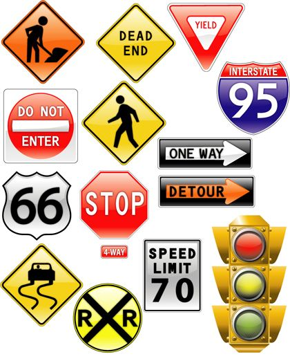 Road Signs Traffic Light Vector Preview Symbols Pinterest