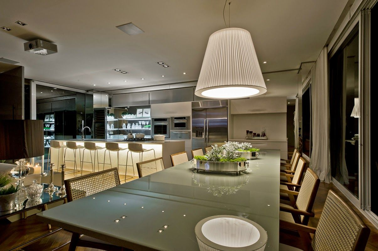 Cozinha E Salas Estar Jantar Integradas Com Decora O Neutra E