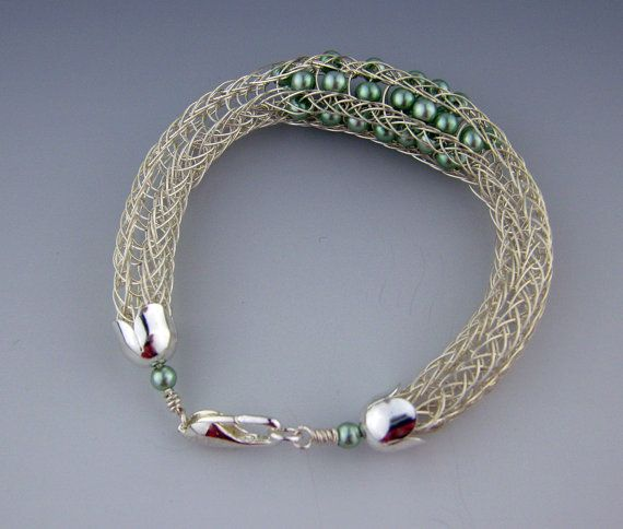 Sterling Silver Hand Woven Viking Knit Bracelet with Glass Pearls by All My Beads DESTASH