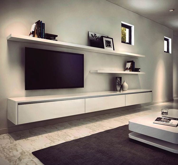 Pin by jacquiline babu on tv stand pinterest living room room and floating shelves for Floating wall units for living room