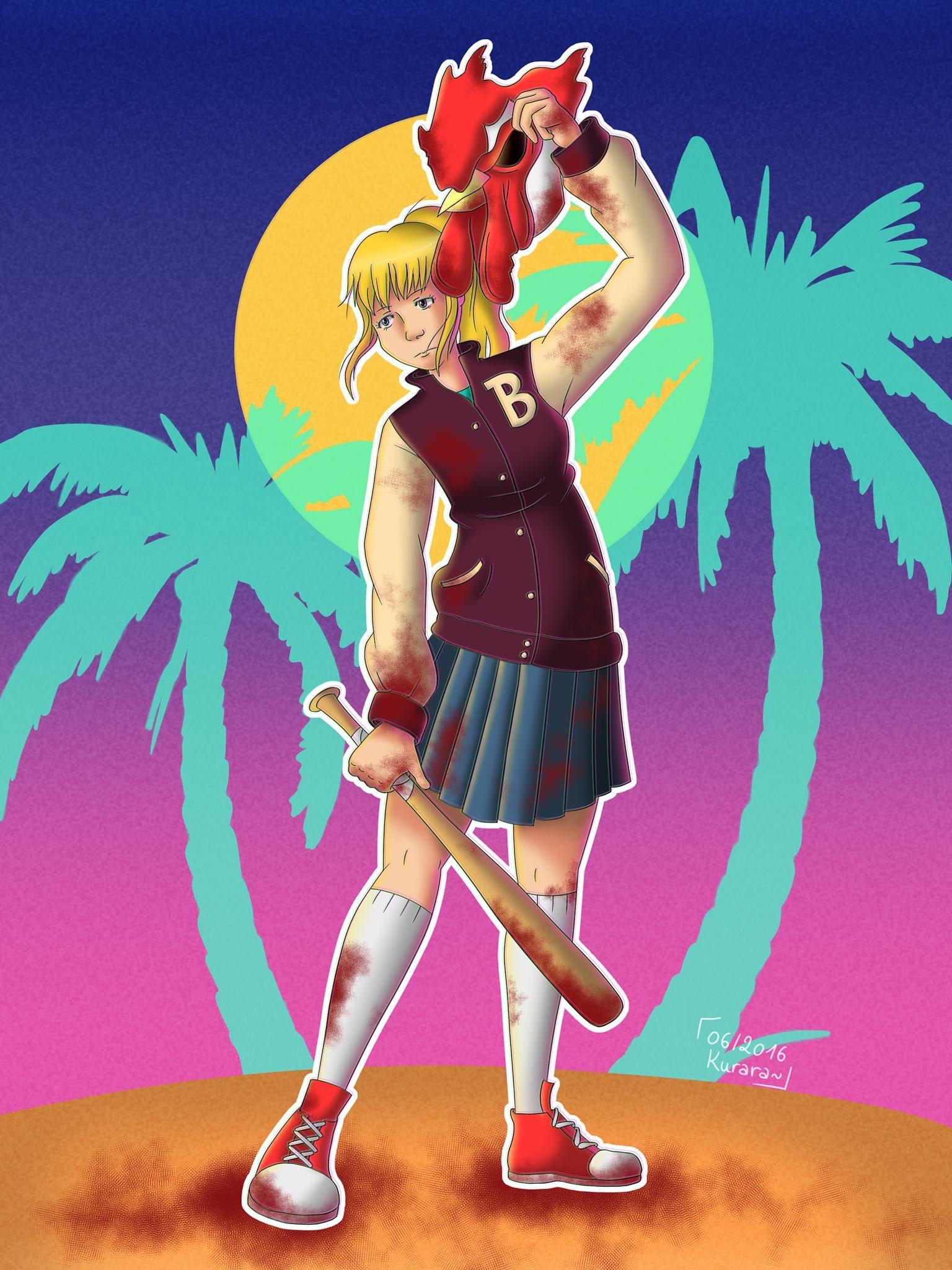 Fanart genderbend of Jacket in Hotline Miami by Kurara~ (https://www.facebook.com/KuraraPage/)