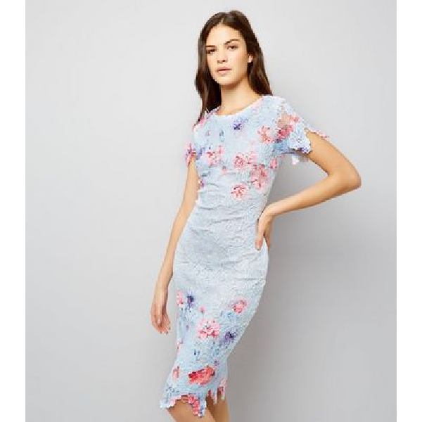 578511034fb0 AX Paris Blue Floral Print Lace Midi Dress New Look | Dresses in ...