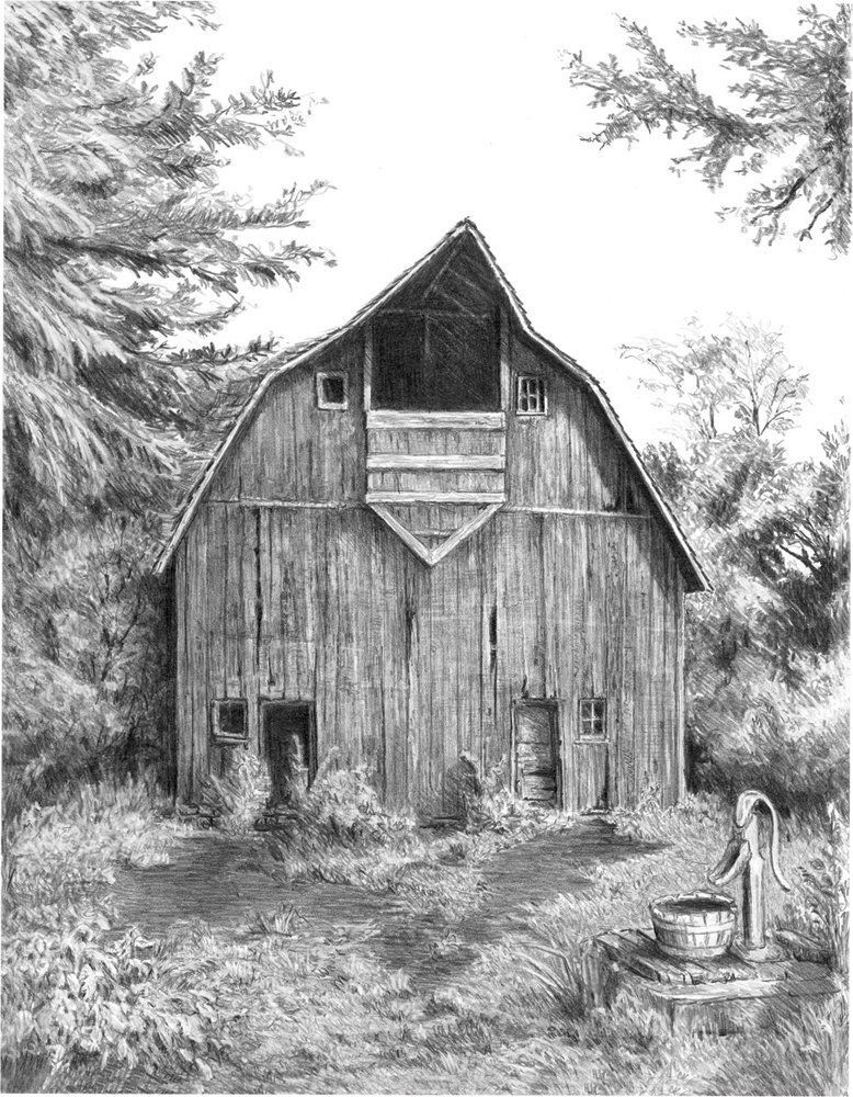 Royal and Langnickel Sketching Made Easy, Old Country Barn drawing