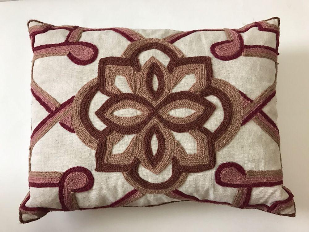 Kim Seybert Living Crewel Embroidered Linen Pillow Bohemian Beauteous Kim Seybert Living Decorative Pillows