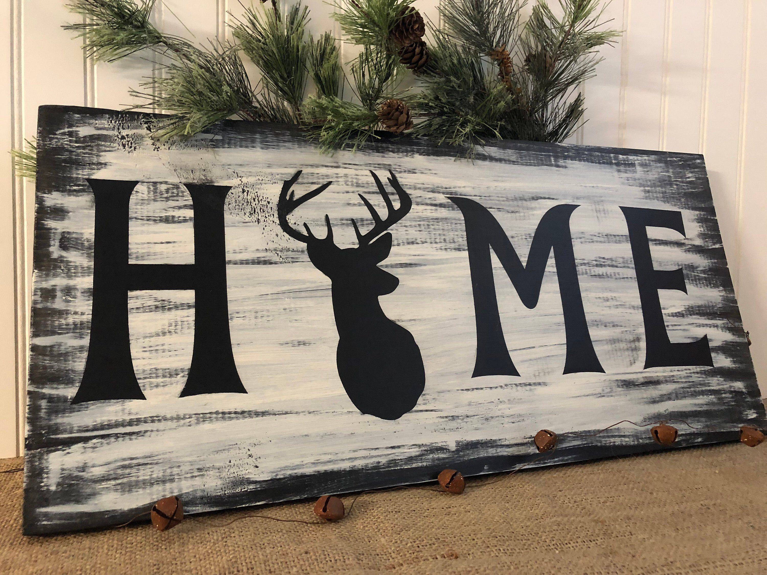 Excited to share this item from my #etsy shop: Home - Sign With Deer Head, Deer Hunters gift, Rustic deer home sign, man cave gift #mancave