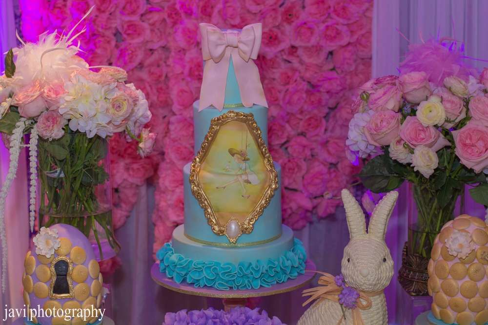 Amazing cake at a garden birthday party! See more party planning ideas at CatchMyParty.com!