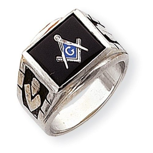 14k White Gold Mens Masonic Ring Rings Freemason Ring