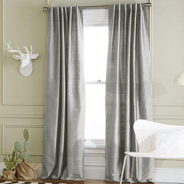 Window Treatment for my room? I love the Soho Silk Window Panel - Pewter on westelm.com