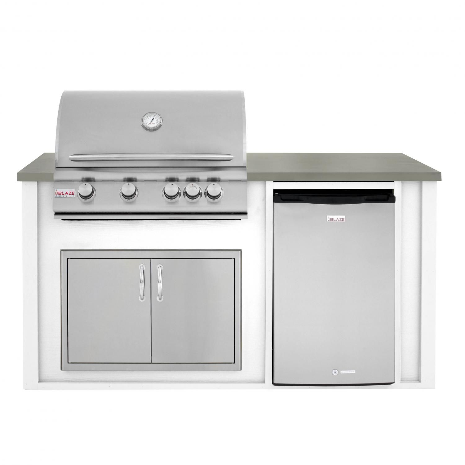 Bbqguys 6 Ft Bbq Island With Blaze 32 Inch Natural Gas Grill Double Access Door Compact Refrigerator White Gray Blzad4 5ng 6vp4pwng Bbqguys Modular Outdoor Kitchens Natural Gas Grill Compact Refrigerator