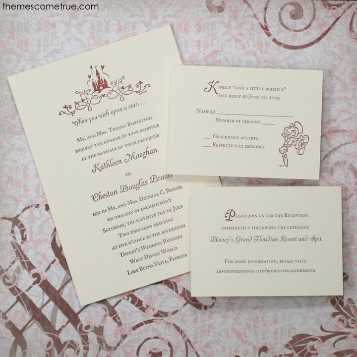 Disney Wedding Invitation: Letterpress Disney Invitation