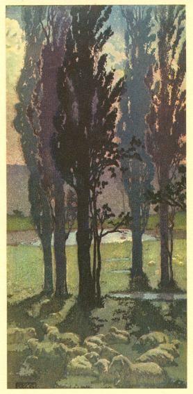 ✦   'september moon'  -  frank morley fletcher  -  1901  -  colour woodcut  -  modern printmakers