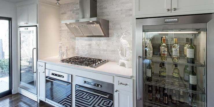 Under Cabinet Glass Front Refrigerators Transitional Kitchen Oven Design Double Oven Kitchen Kitchen And Bath Remodeling