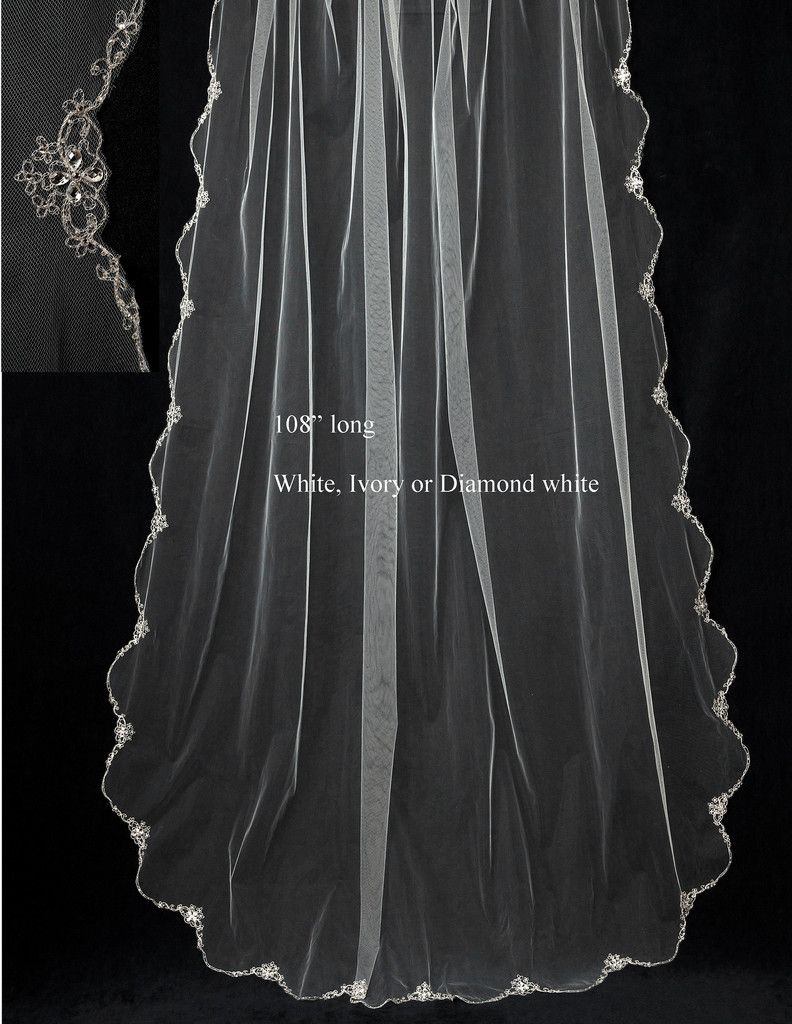 Cathedral Bridal Veil of Silver Embroidery and Rhinestone