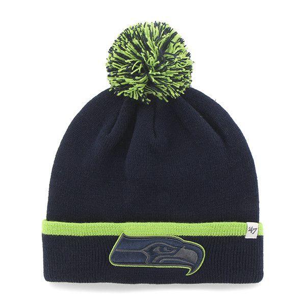 7b33dfa82 Seattle Seahawks 47 Brand Navy Green Baraka Knit Cuffed Poofball Beanie Hat  Cap