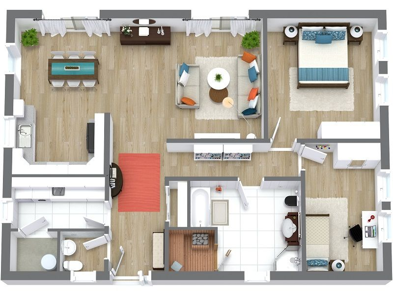 Roomsketcher 3d Floor Plans Floor Plans Beautiful Houses Interior Rendered Floor Plan