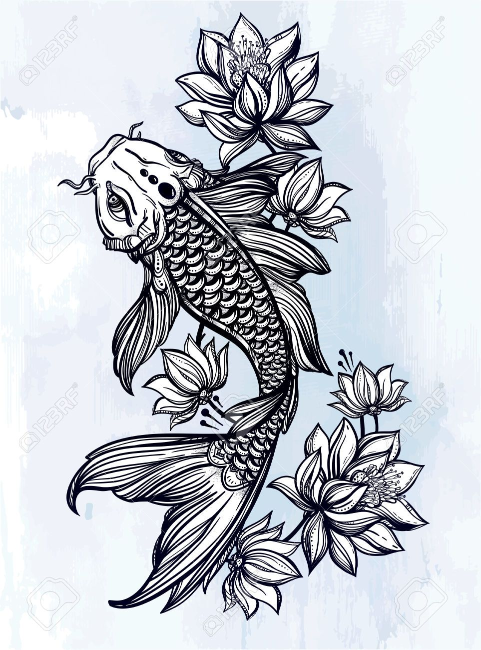 46673712 disegno a mano romantico bel pesce carpa koi con for Mano mano carpas