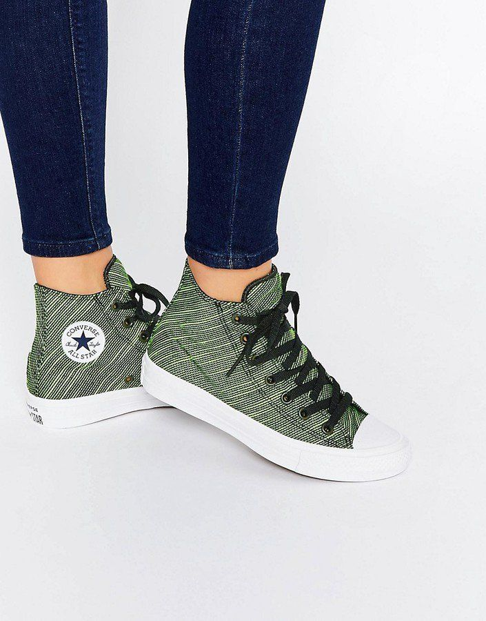 53182082e77 Pin for Later  34 Pairs of Cool-Girl Trainers to See You Through Summer in  Relaxed Style Converse Knit Chuck Taylor All Star II Green   Black High Top  ...