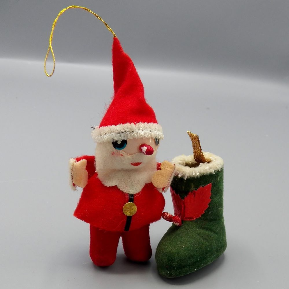 Vintage Red Flocked Christmas Ornament Santa And Green Flocked Boot Japan Mcm Unknown Christmas Ornaments Xmas Crafts Vintage Christmas