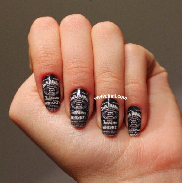 Country Nails: Black/white Jack Daniels Country Girl Nail Art.