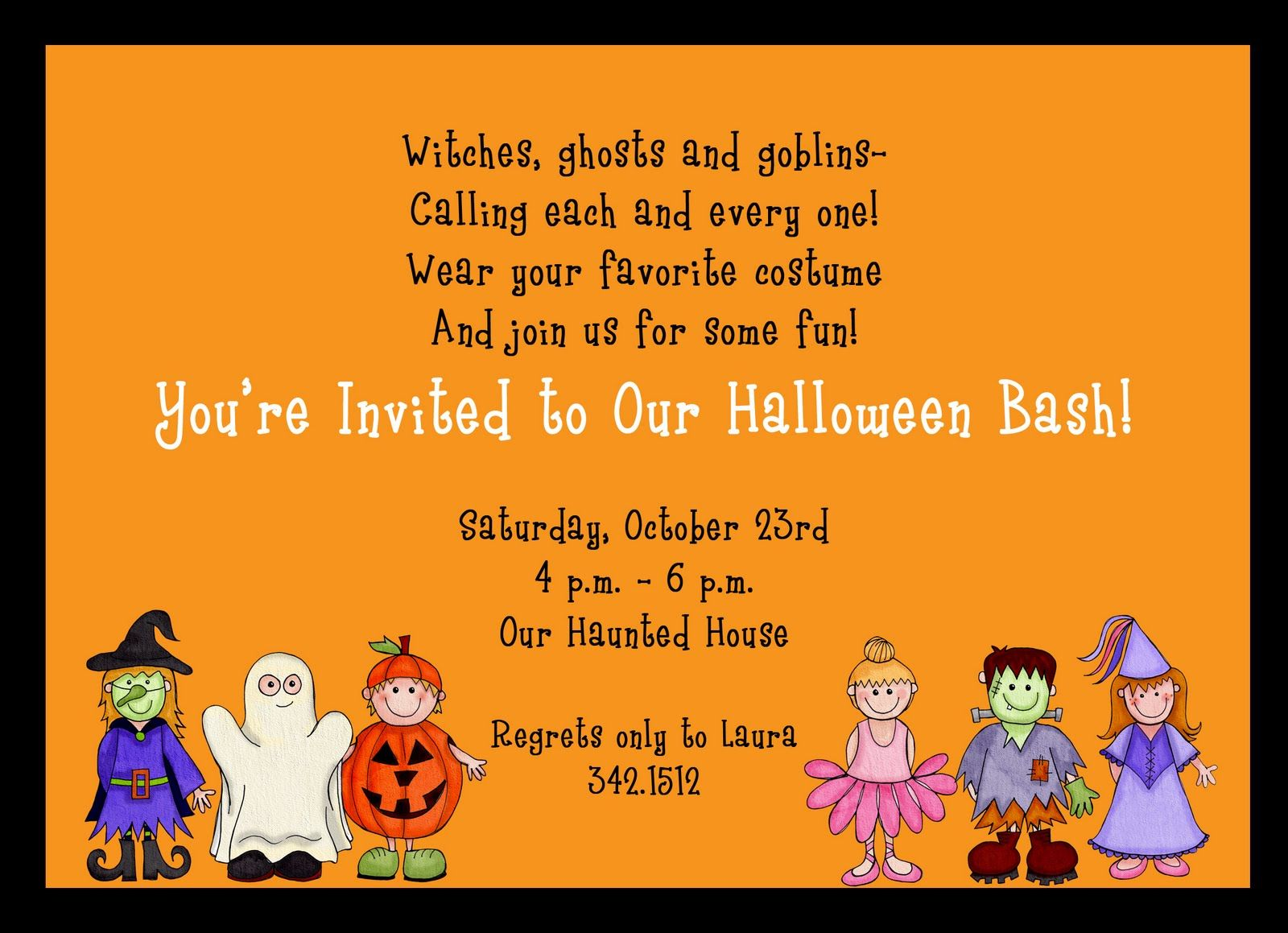 simple-orange-background-kids-halloween-costume-party-invitation ...