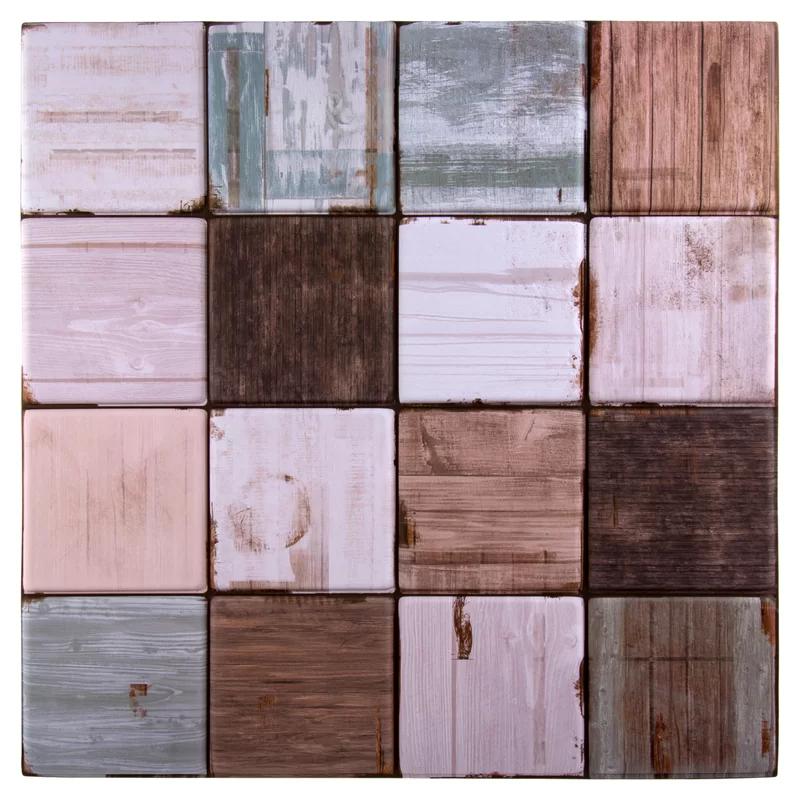 Ctgbrands Weathered Squares 11 8 X 11 8 Pvc Peel Stick Mosaic Tile Reviews Wayfair In 2020 Mosaic Tiles Wall Tiles Mosaic