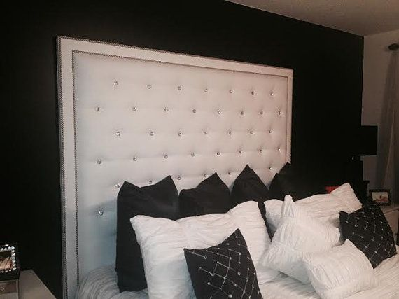 White Faux Leather Crystal Button Tufted Headboard With