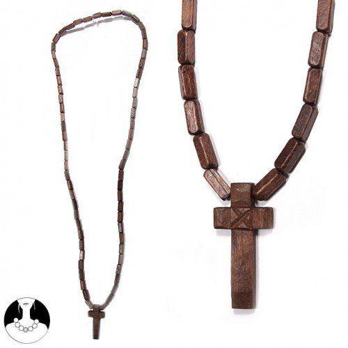 SG Paris Long Necklace 65cm Brown M Fonc/Choc/Smok Top Necklace Necklace Wood Summer Teenager Holidays Spirit Fashion Jewelry / Hair Accessories Cross SG Paris. $2.99