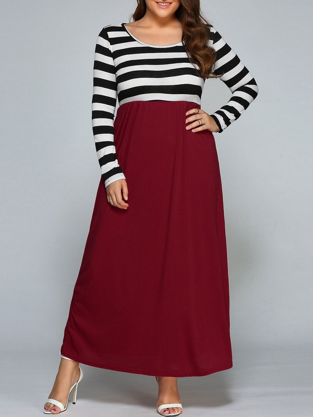 Plus size stripe maxi dress with sleeves stuff to buy pinterest