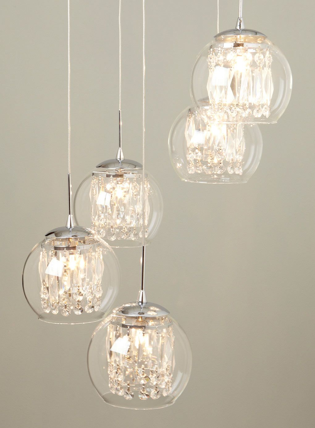 Glass crystal spiral pendant chandelier lighting for the home bhs lounge pinterest - Ceiling lights and chandeliers ...