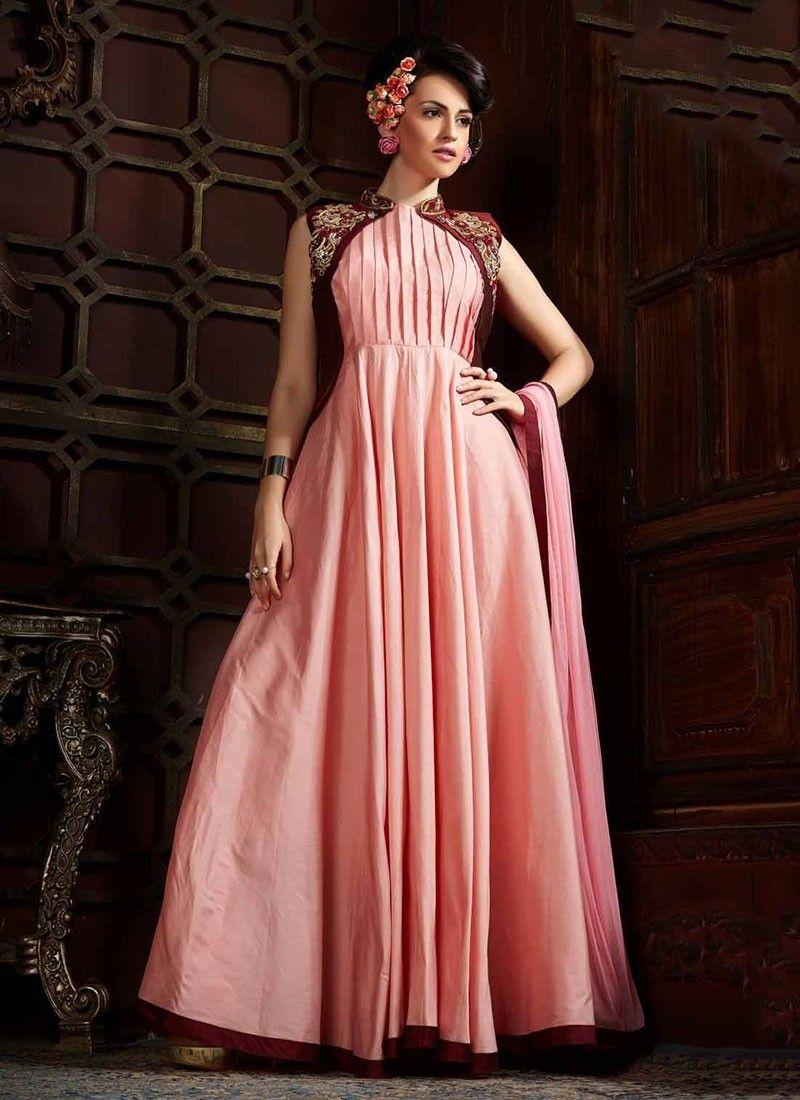 Shop online pink tafeta silk longgown chennaistore party