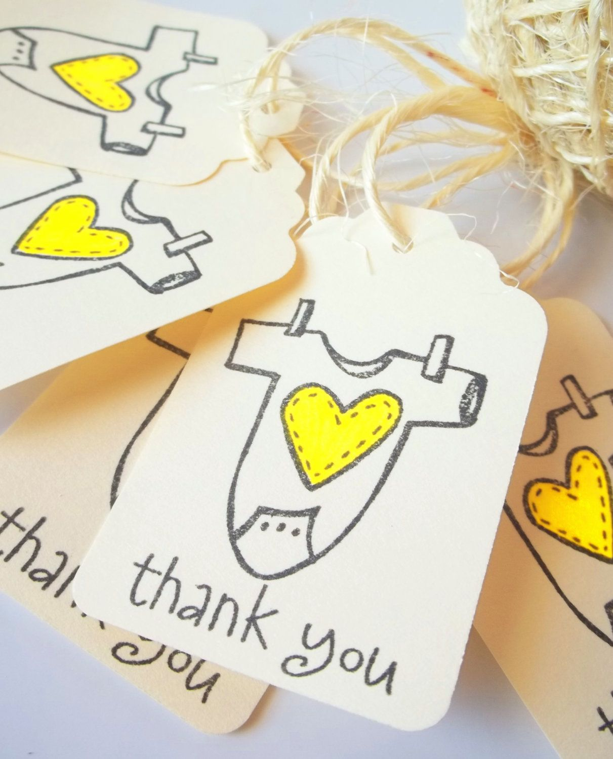 Yellow Onesies Tags, Baby Shower Favor Tags, Boy or Girl by Lilly Things. $5.50, via Etsy.