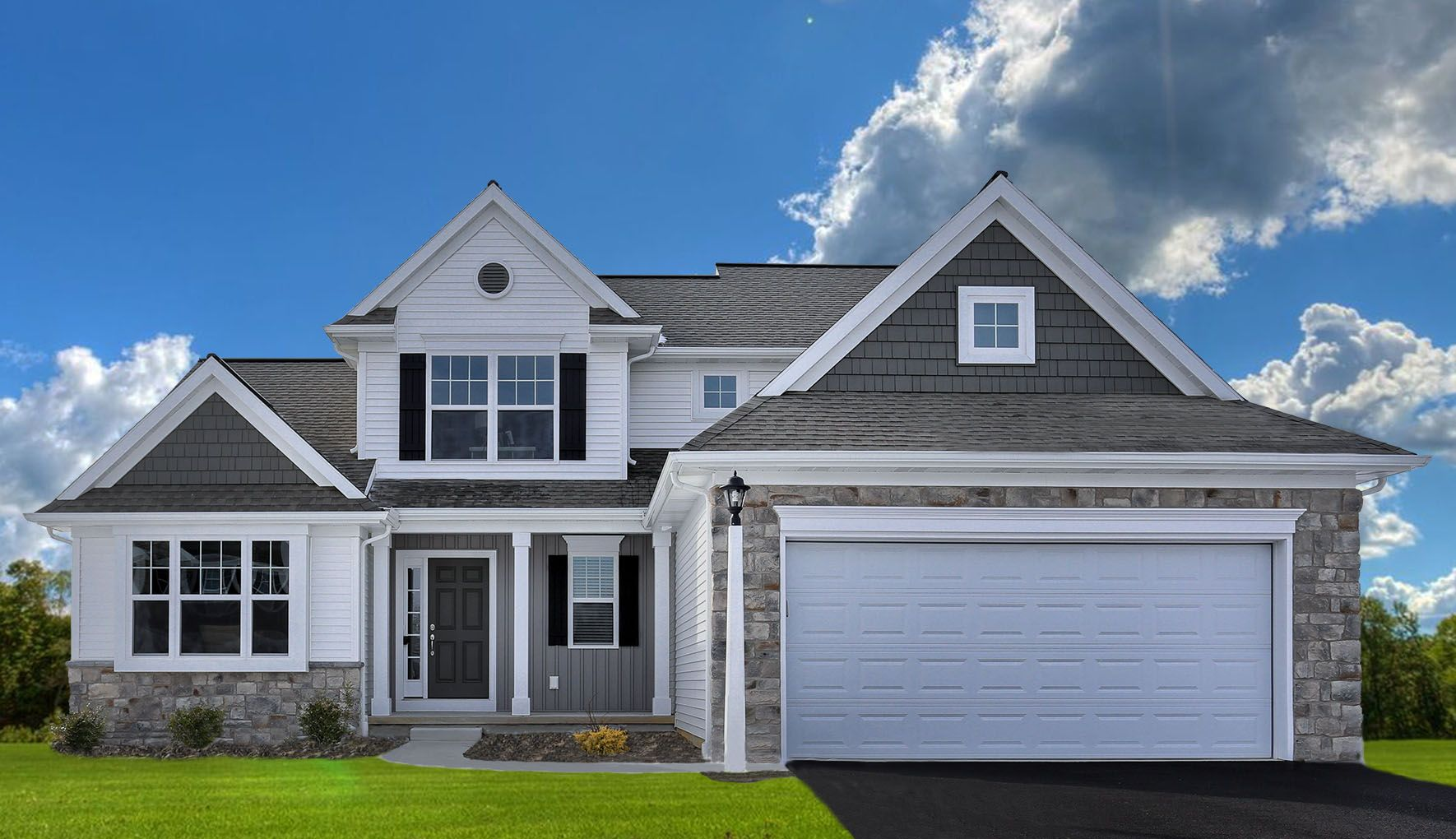 White D 4 Harbor Grey Board Batten Misty Shadow Shakes Black Shutters White Trim Black Shutters White Siding Exterior House Colors