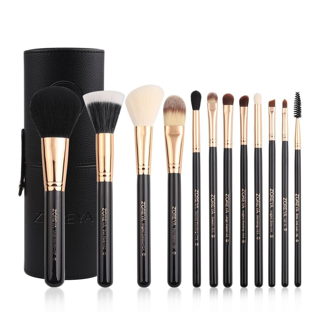 Women Gift Premium Travel Makeup Brush Set 12 Pieces Girl Cosmetic Tools Vegan Makeup Makeupartis Black Makeup Brush Set Makeup Brush Set Cosmetic Brush Set