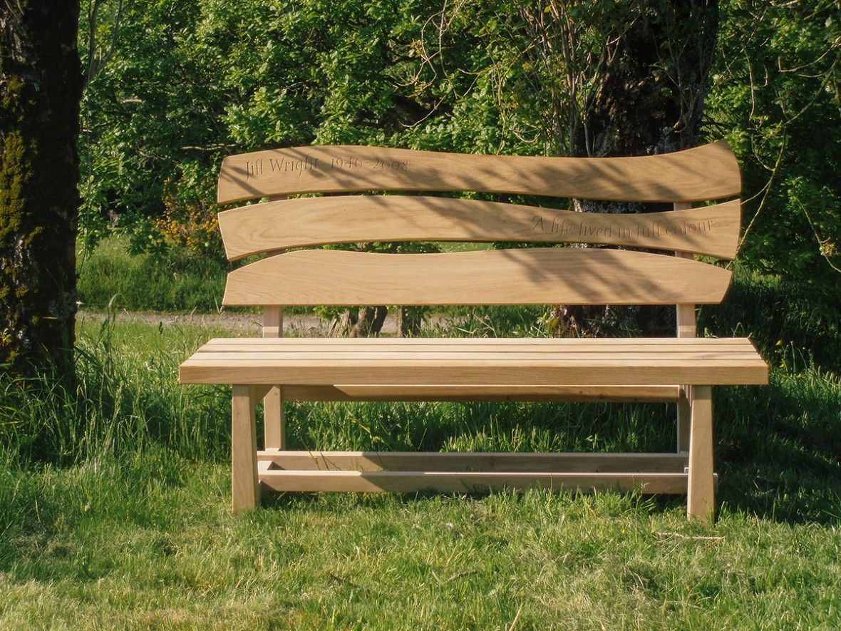Groovy Memorial Bench Oak Garden Furniture Penzance Cornwall Samuel Caraccident5 Cool Chair Designs And Ideas Caraccident5Info