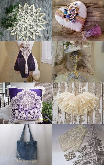 Take From Me My Lace by Sheila and Shannon on Etsy--Pinned with TreasuryPin.com...with my heart pillow in the upper right!
